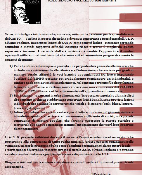 Iscrizioni 2017 - 2018 Asd Silvano Pagliuca